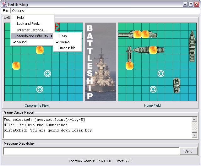 Java BattleShip Program - sample battleship game
