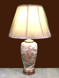 Pair of Japanese Satsuma Vases Converted to Lamps   DUBEY ...