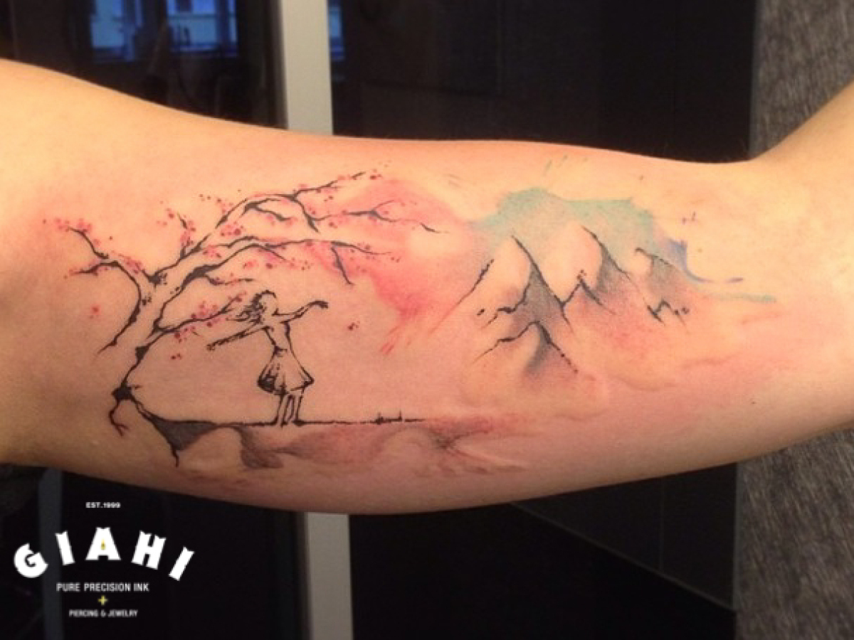 Tattoo Aquarell Sketchy Tree And Mountains Aquarelle Tattoo By Roony Best Tattoo
