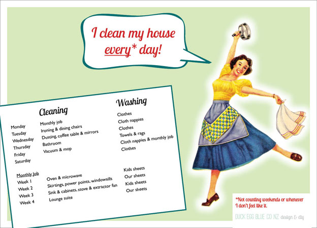 Turning over a clean leaf Duck Egg Blue - housework schedule