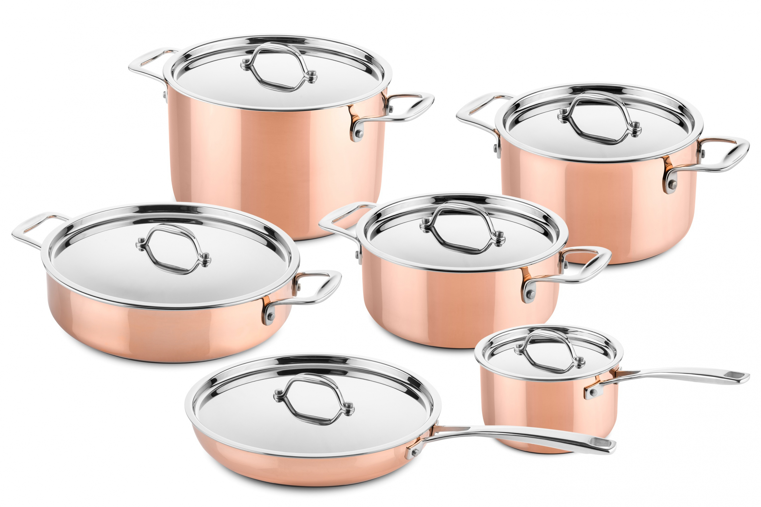 Pannen Set 6 Pcs Copper Cookware Set Suitable For Induction