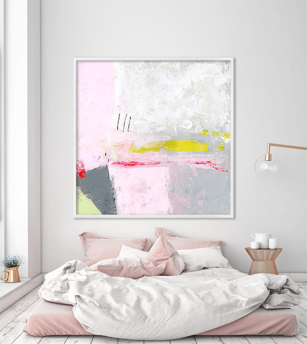 Abstract Art Prints On Canvas Large Minimalist Print Baby Pink And Grey Giclee Print On Canvas Wall Art Prints Urban Asbtract Art By Duealberi
