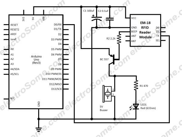 arduino rfid access control with em 18