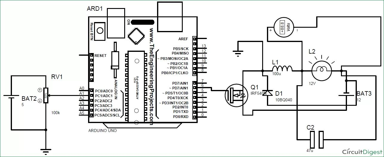 dimmer with a mosfet circuit schematic