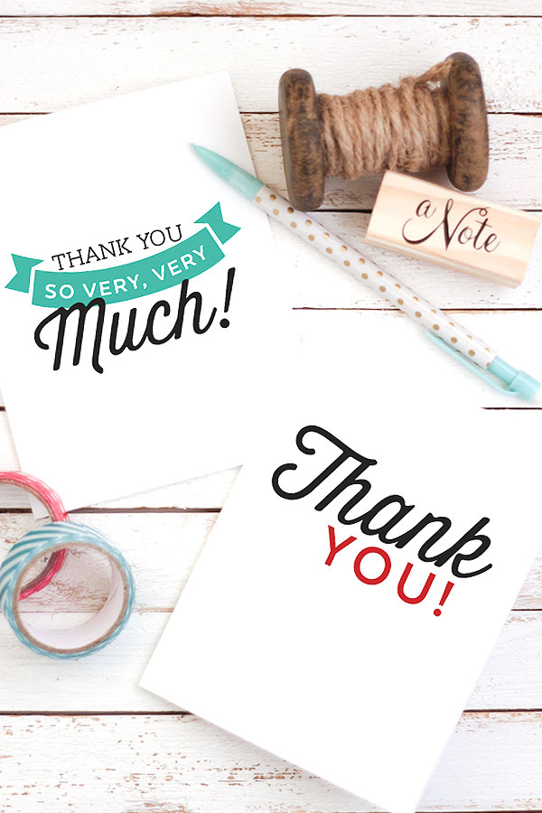 10 FREE Printable Thank You Notes / Cards for Kids