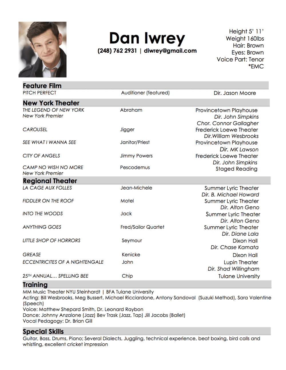 musical audition resume template