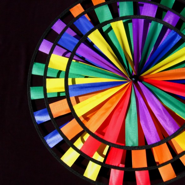 Photograph of fabric rainbow pinwheel