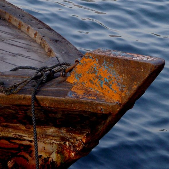 Rusted stern of boat