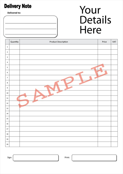 Duplicate Design - bespoke duplicate books and pads - delivery note template