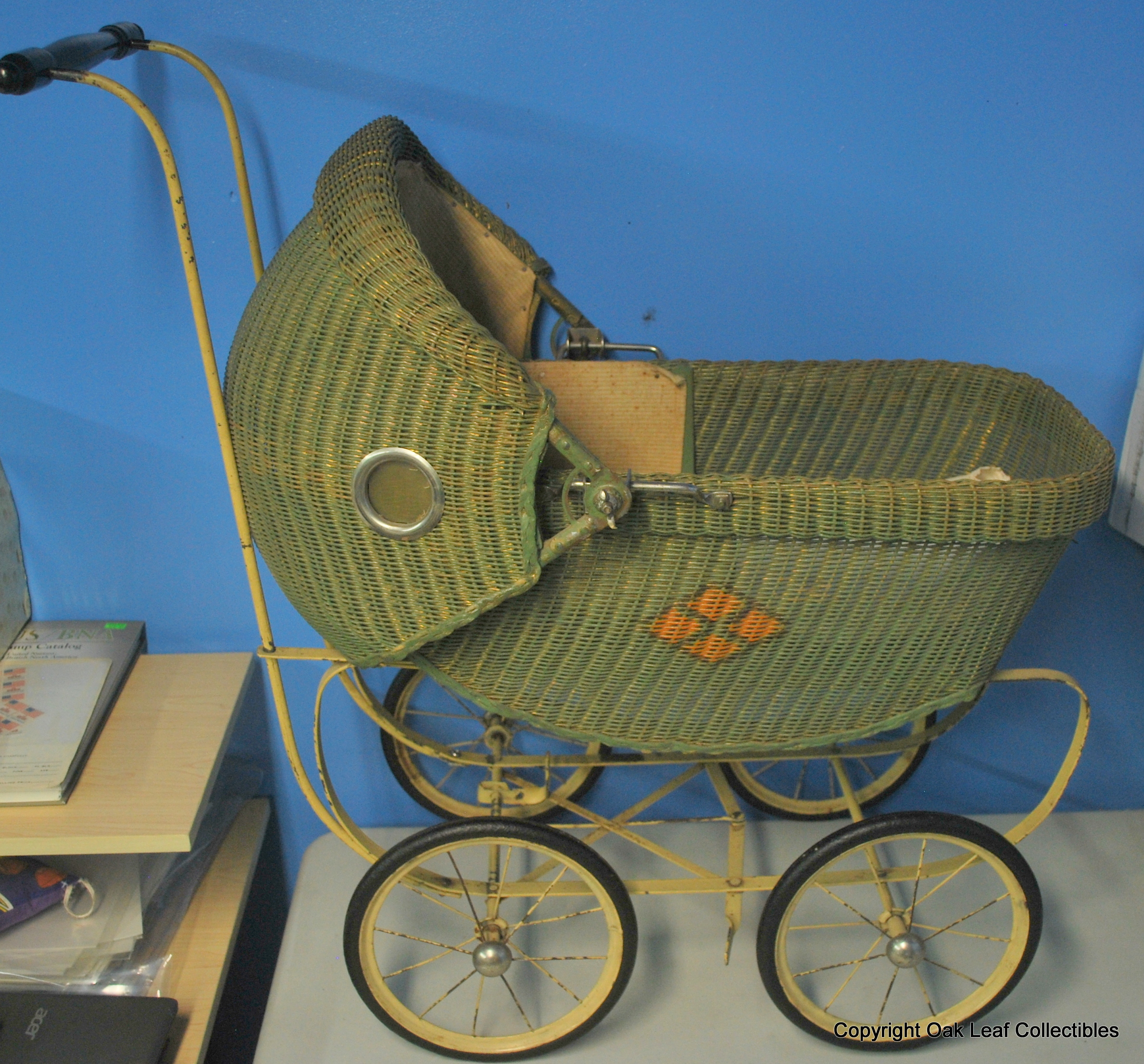 Vintage Toy Stroller Details About Vintage Baby Doll Carriage Stroller Buggy Cloth Wicker With Bedding Pillow