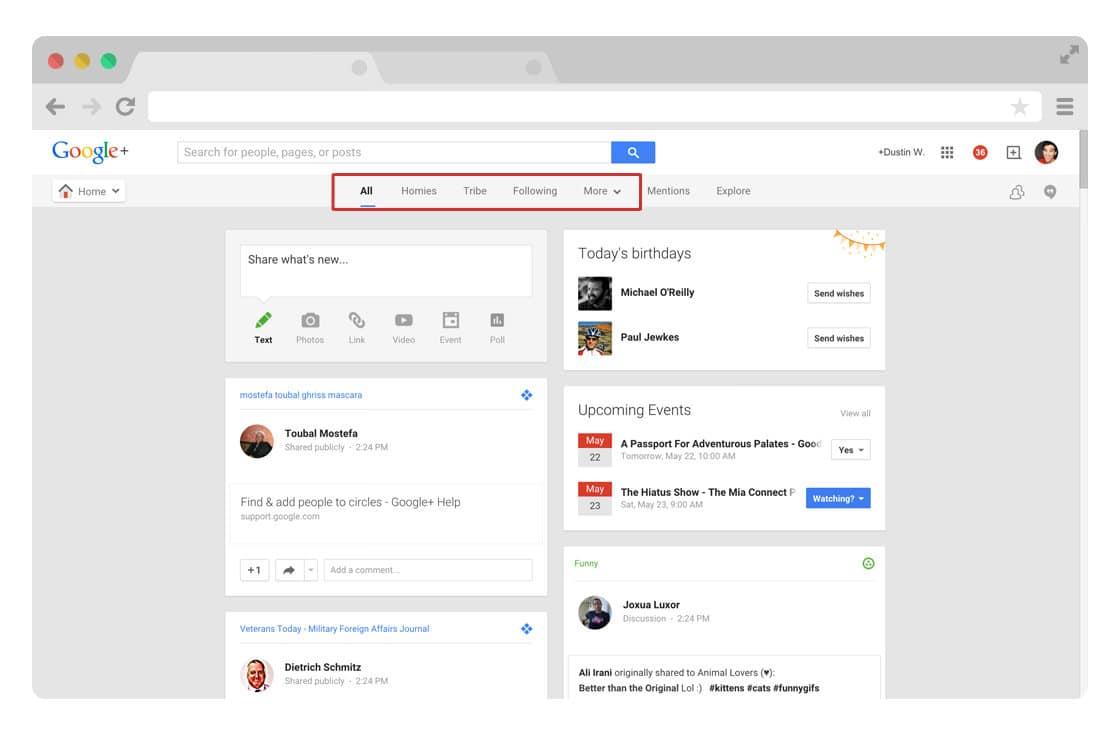 Google Plus circles stream
