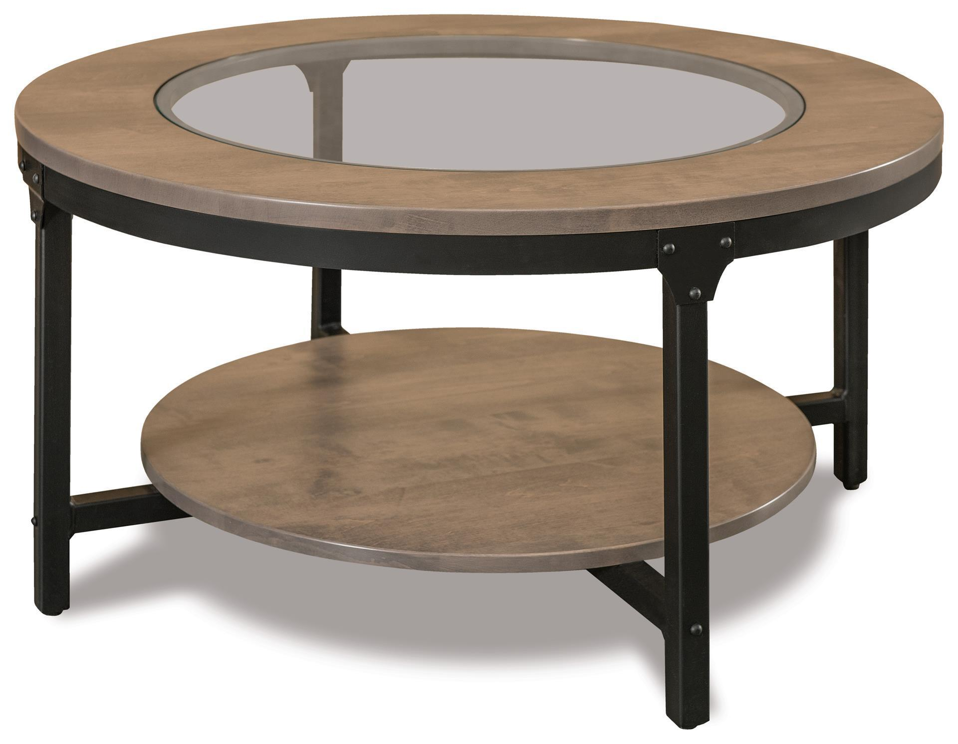 Round Glass Top Coffee Table Amish Ironwood 38