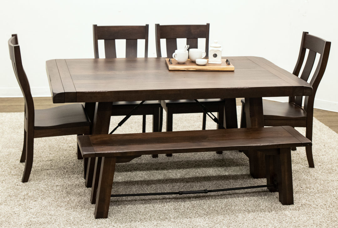 Children's Trestle Table Maple Settler S Trestle Table With 4 Urbana Side Chairs And 1 Bench Maple Settler S Trestle Table With 4 Urbana Side Chairs And 1 Bench