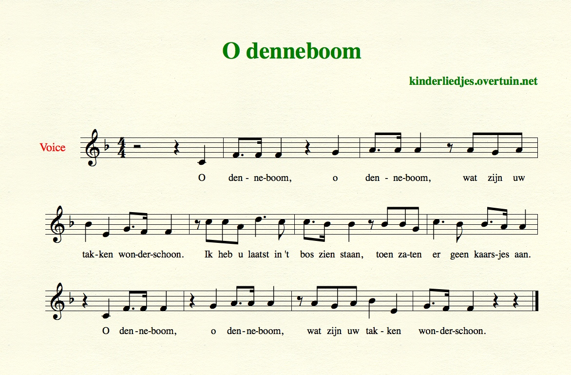 Oh Denneboom Dutch Children's Christmas Songs For Children, With Music