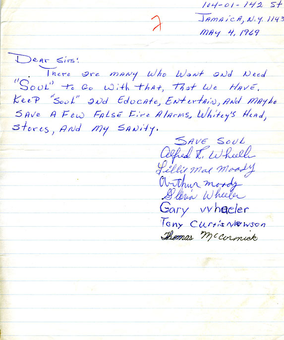Letters written in support of SOUL!, 1969-73 THIRTEEN - New York - Letter Of Support Sample