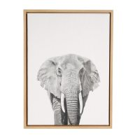 DesignOvation Elephant Portrait Black and White Framed ...