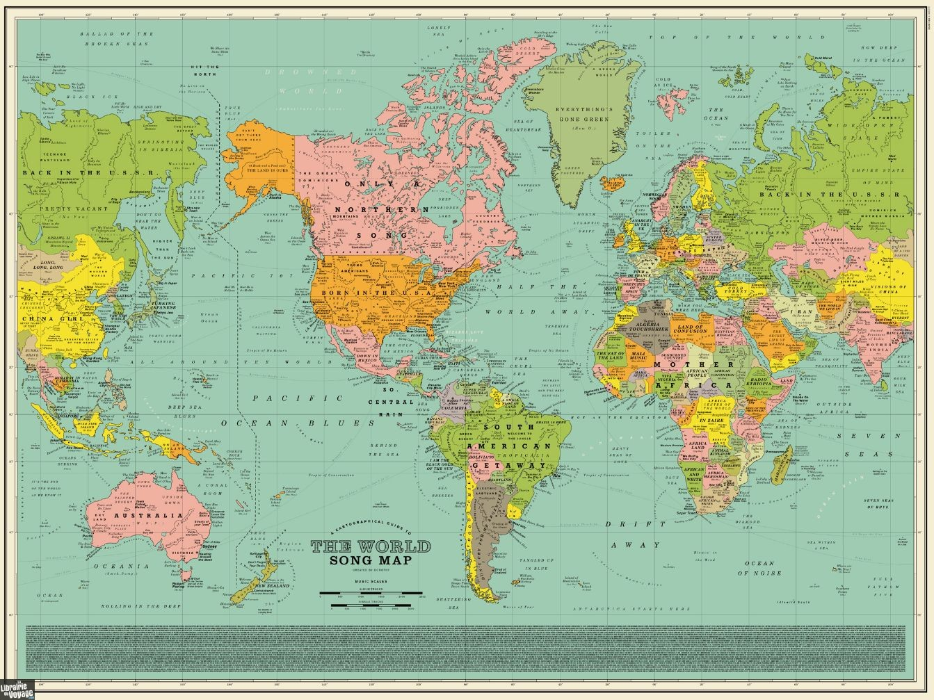 Carte Monde Murale Dorothy Carte Murale World Song Map Carte Du Monde Des Titres