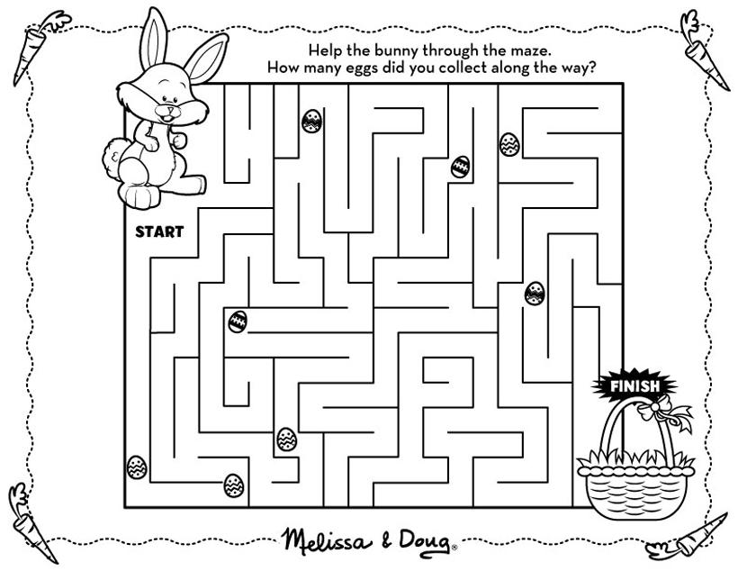 Easter Bunny Maze Printable for Kids Melissa  Doug Blog
