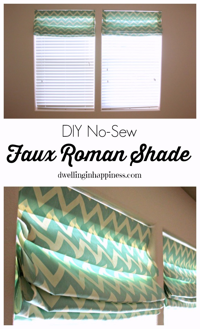 Diy Roman Shades Easy Diy No Sew Faux Roman Shade Dwelling In Happiness
