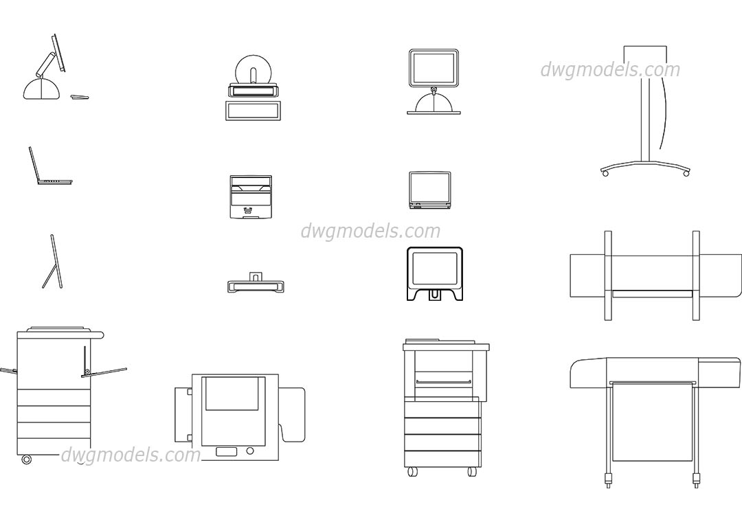 Office Equipment Dynamic Cad Blocks Free Download Dwg Models