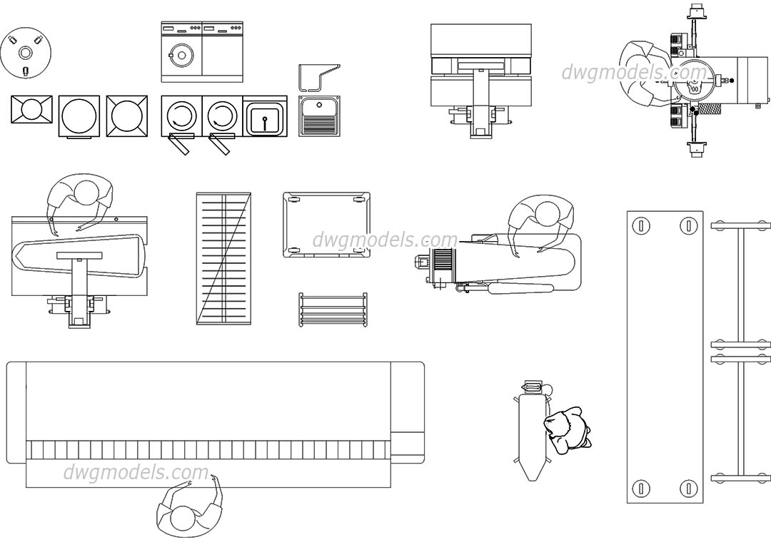 Laundry Equipment Machines Cad Blocks Free Download