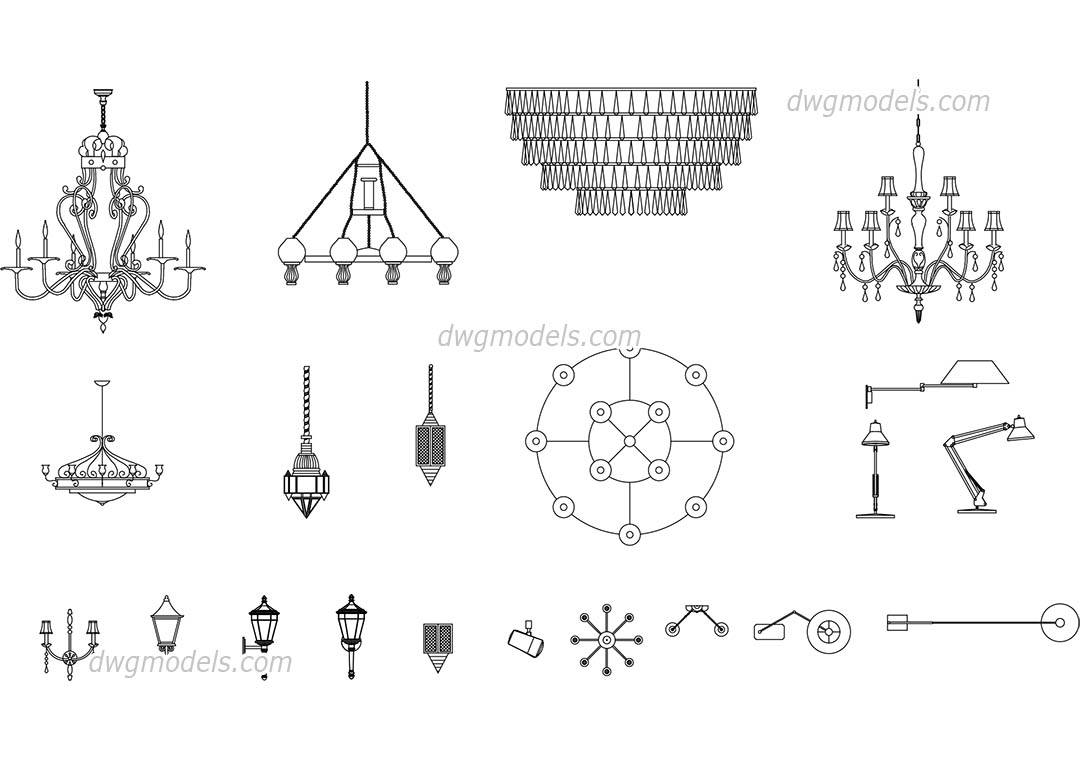 Autocad Blocks Lamps And Chandeliers Free Autocad Blocks Download Dwg File