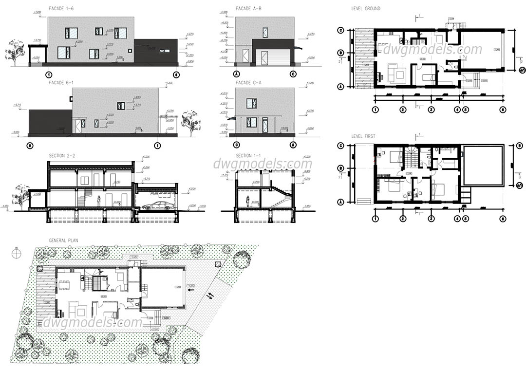 House Plan Drawing Modern House Autocad Plans Drawings Free Download