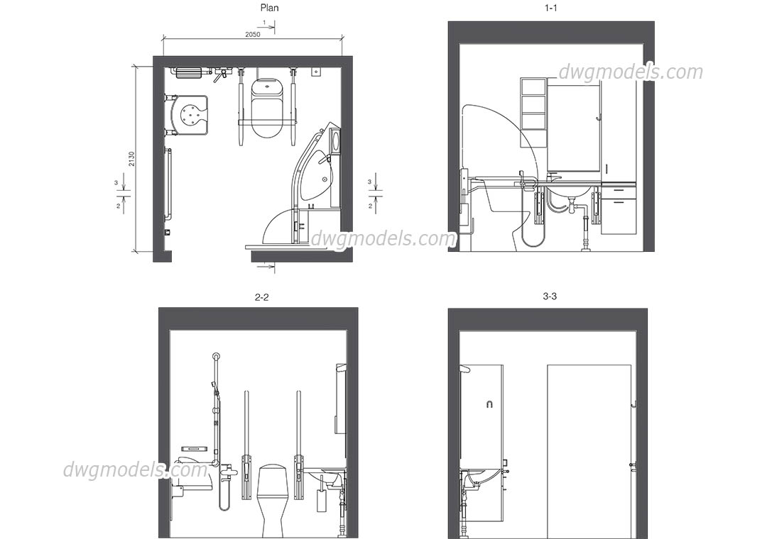 Wc Plan Wc For Disabled Autocad Drawings Download Free Cad File