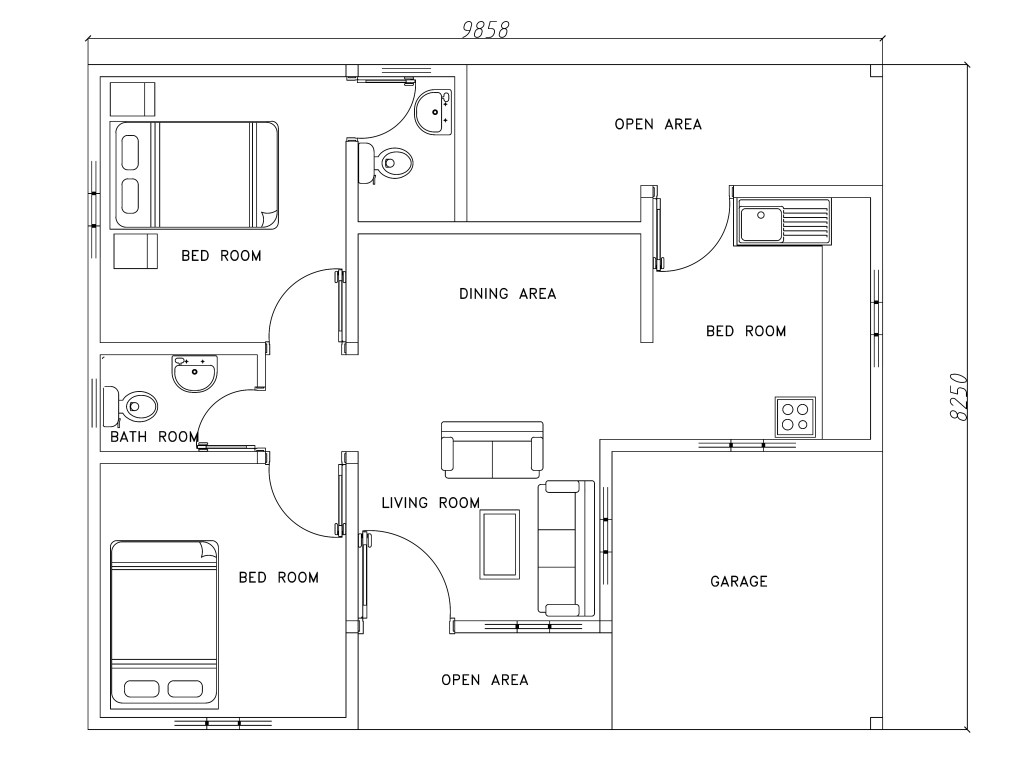 Free Bathroom Floor Plans Two Bed Room Modern House Plan Dwg Net Cad Blocks And