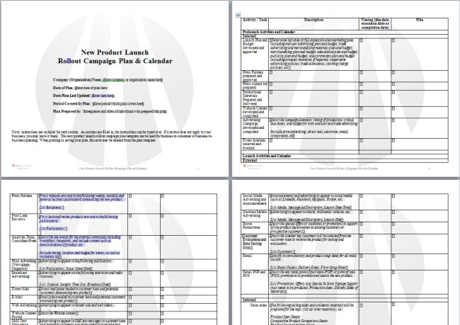 New Product Launch Plan Template - product plan template