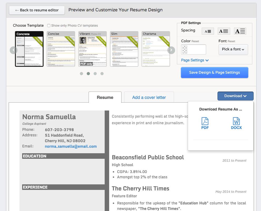 linkedin resume builder edit