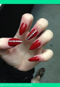 Red nails with diamonds stiletto nails nails t Red nails