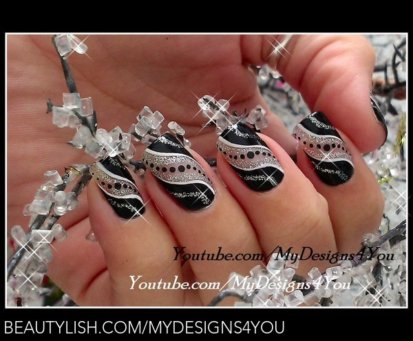 Super Easy New Year39s Nail Art Black And Silver Party