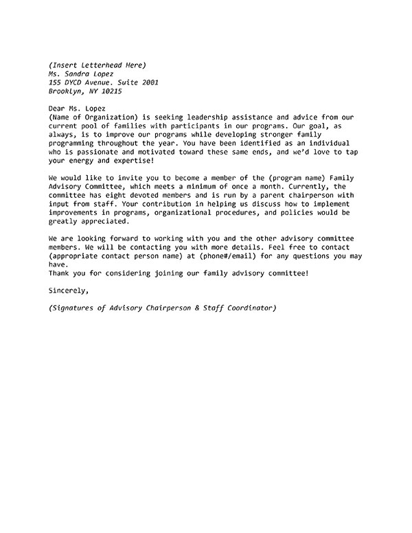 Sample Letter Of Invitation To Join A Family Advisory Committee