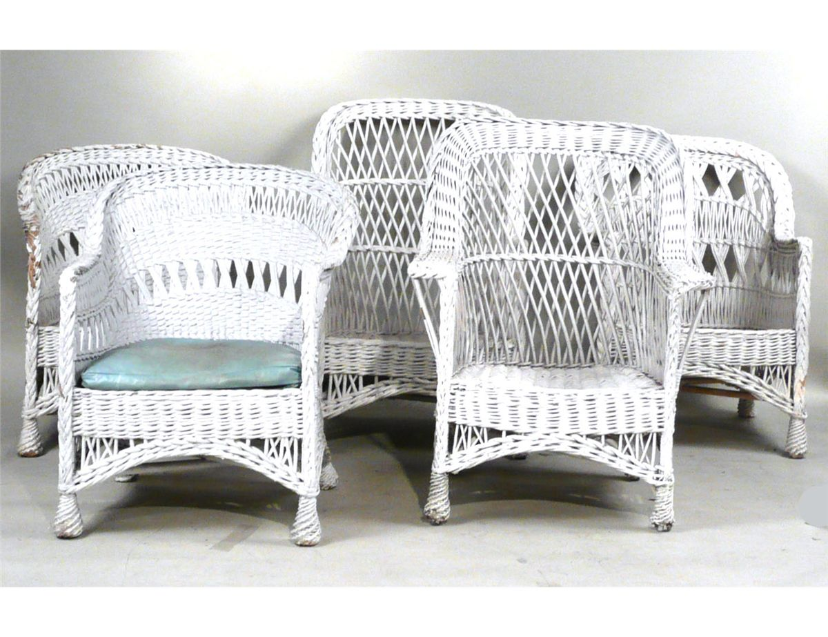 Painted Rattan Furniture Group Of Victorian White Painted Wicker Furniture 19th 20th C