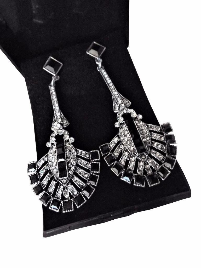 Art Deco Style Earrings Uk Gift Boxed Long Silver Art Deco Vintage Black Red Crystal