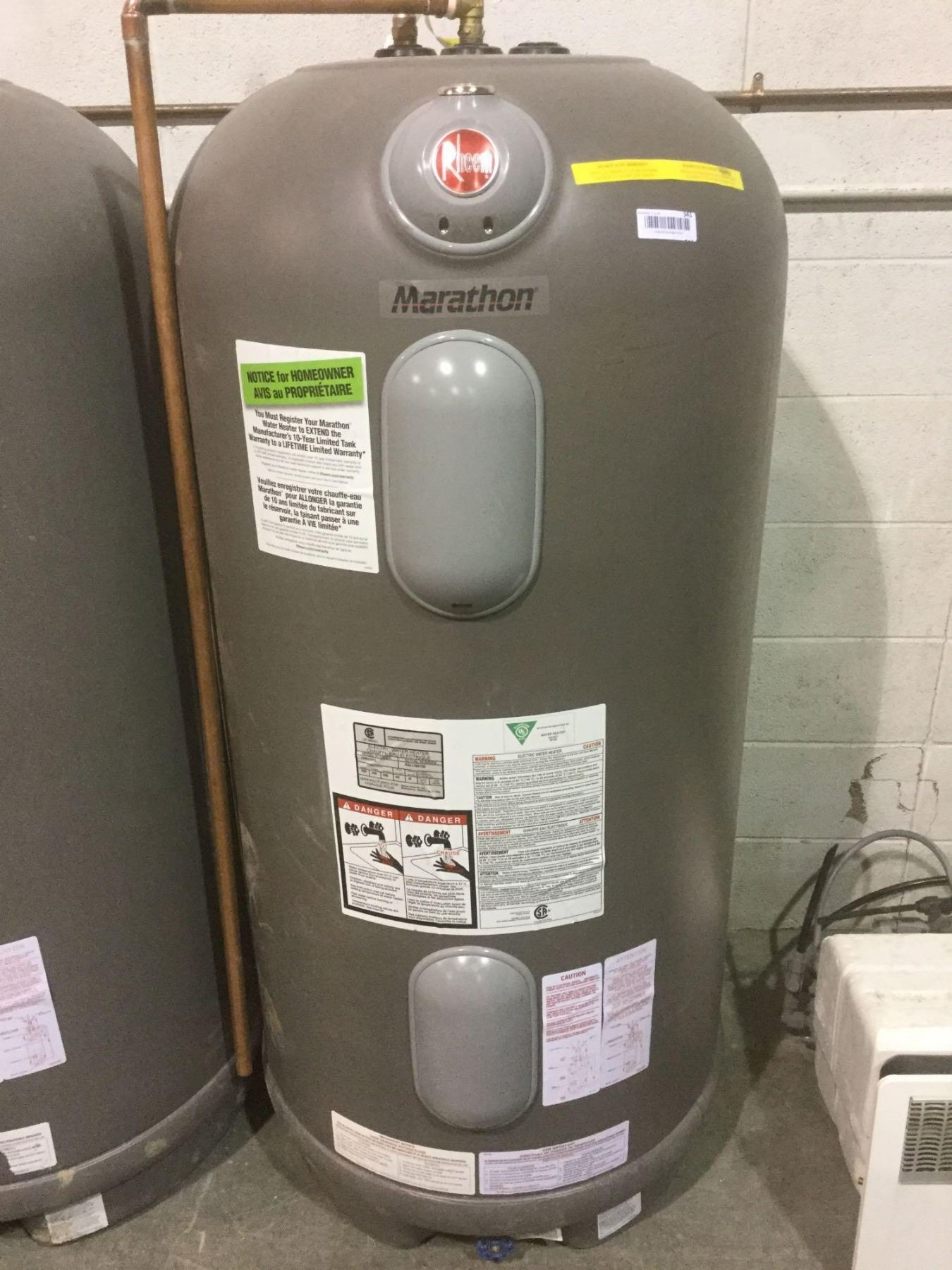 Chauffe Eau Rheem Marathon Rheem Electric Water Heater 60 Imp Model Cmr75245