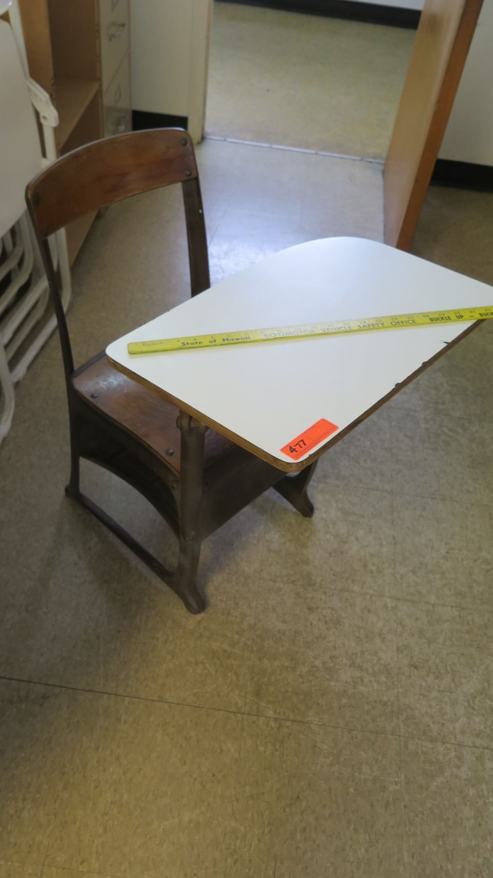Vintage Wood Metal School Desk W Attached Chair Oahu Auctions