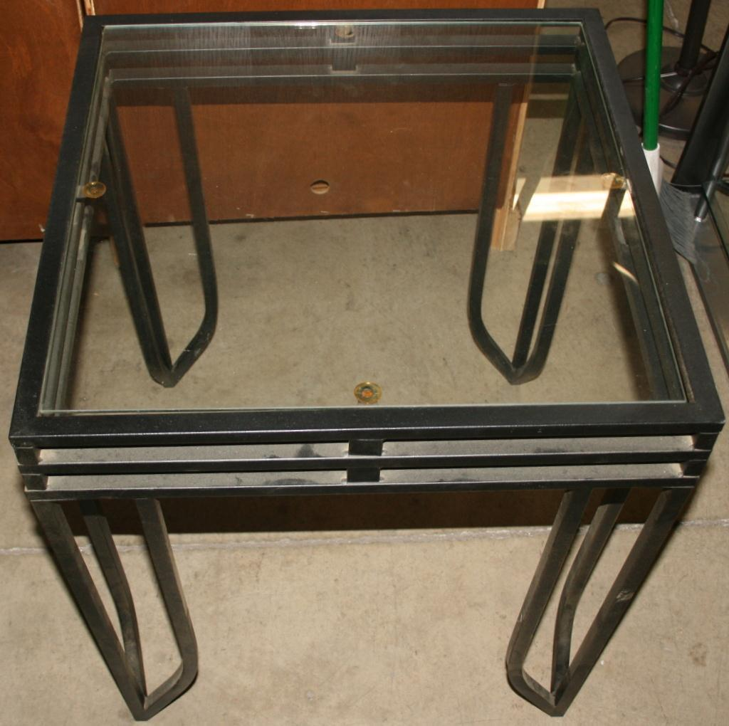 Metal Glass End Tables Three Glass Top End Tables A Coffee Table