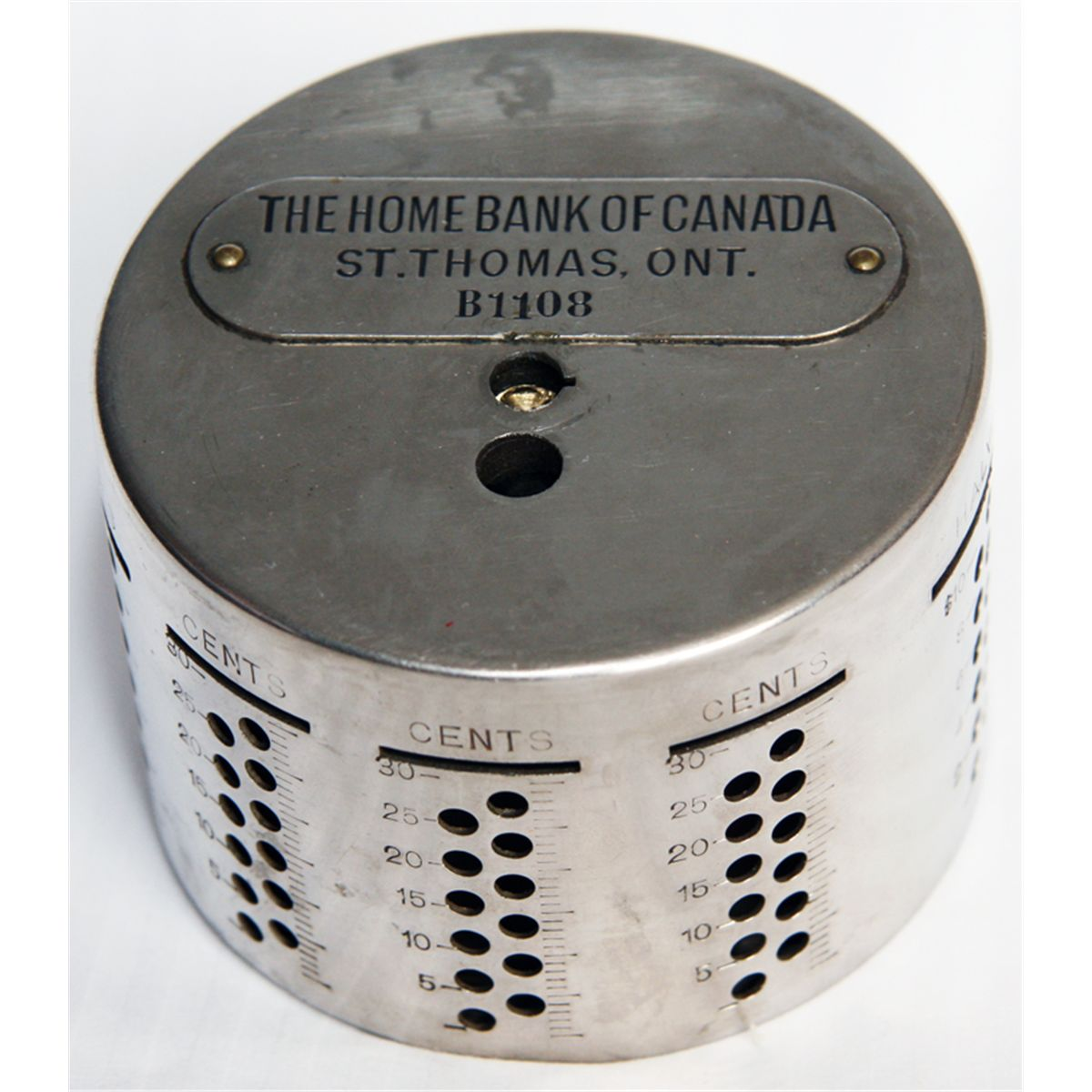 Home Bank Of Canada The Home Bank Of Canada St Thomas Ont An Cylindrical Bank Slots Arranged Horizontally Along Top