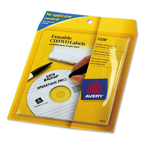 Avery Erasable CD/DVD Labels, 10 Labels/10 Spines per Pack - AVE7228