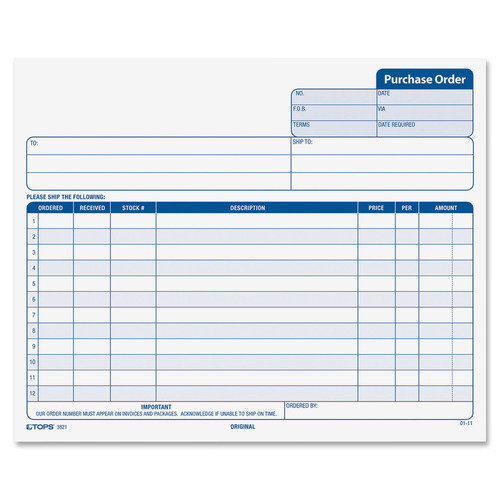 TOPS Carbonless Purchase Order Forms, 50 Sheet(s) - 15 lb - 3 Part