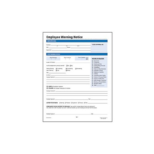 Socrates Employee Warning Notice Form - SOMHR114 - Shoplet