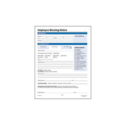 Socrates Employee Warning Notice Form - SOMHR114 - Shoplet - employee warning form