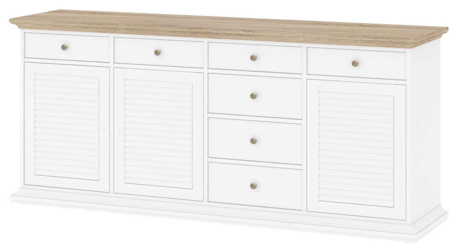 Küche Highboard Landhaus 3trg Sideboard Paris Kommode Anrichte Schrank Highboard