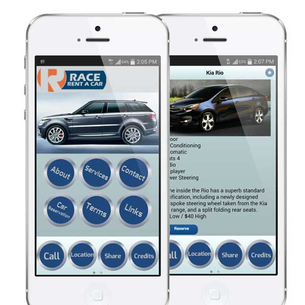 rent a car mobile app with reservation and ecommerce