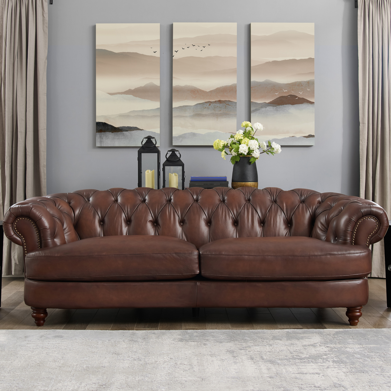 Brown Real Leather Couch Melton Leather Sofa In Diamond Tufted Dark Brown W Nailheads By Amax Leather