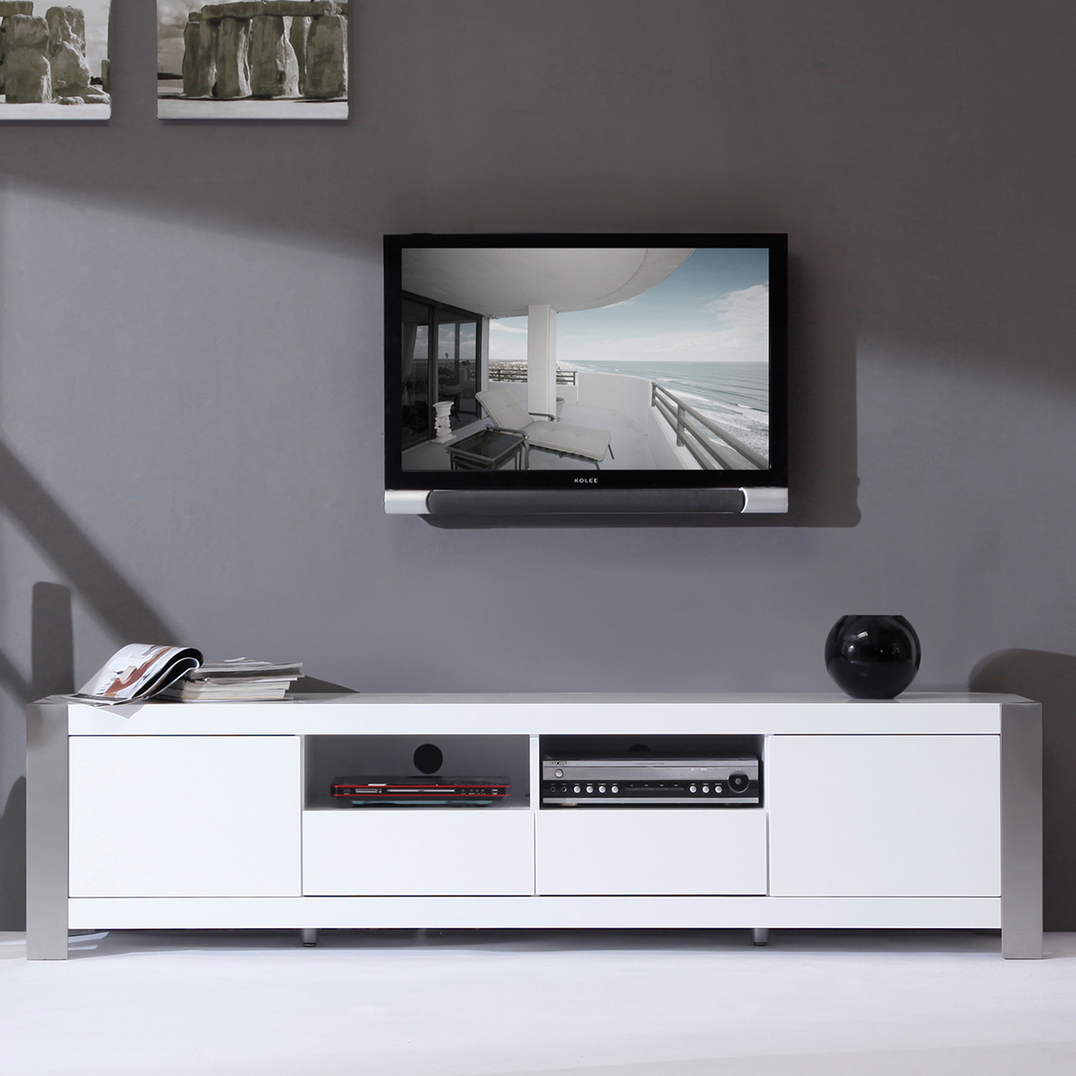 Modern Tv Base B Modern Bm 100 Wht Composer 79 Quot Contemporary Tv Stand In