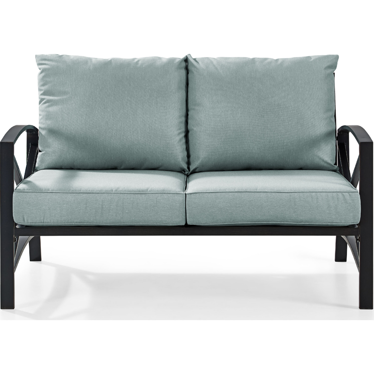 Bz Futon Kaplan Loveseat In Oiled Bronze Steel W Mist Cushion By Crosley