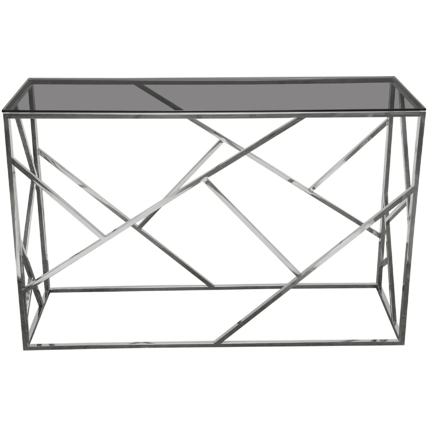 Glass Top Console Table Nest Console Table In Smoked Tempered Glass Top Polished Stainless By Diamond Sofa